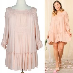 Boho Cloud 1X Flowy Pink Smocked Ruffle Dress